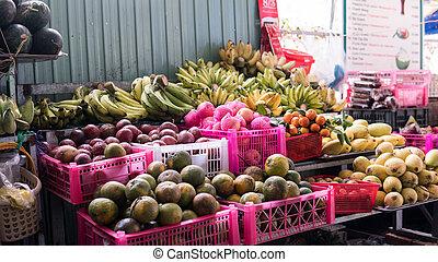 asiatisch, fruechte, market., tropische früchte