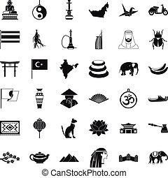 asiatisch, sachen, heiligenbilder, satz, einfache , stil