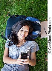 asiatisch, student, hören musik