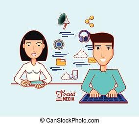 asiatische frau, gebrauchend, cellphone, und, mann, mit, tastatur, sozial, medien, apps