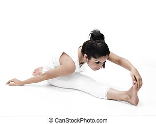 asiatische frau, machen, joga, excercise