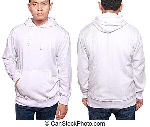 asiatischer mann, modell, tragen, ebene, weißes, langer,...