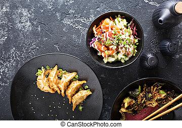 asiatisches cuisine, geschirr, tisch, oberirdische ansicht