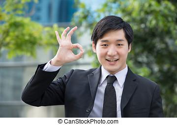 asiatisches geschäft, mann, gesturing, okay