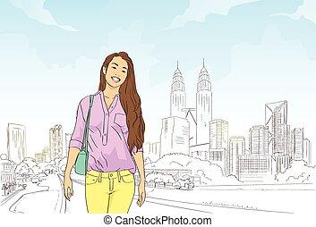 asiatisches mädchen, aus, modern, stadt, cityscape, hintergrund