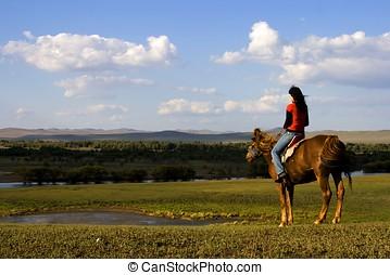 asiatisches mädchen, pferd fahren