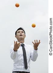 asiatisk affärsverksamhet, man, jonglera