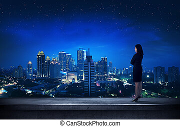 asiatisk affärsverksamhet, person, stående, på, den, taktopp