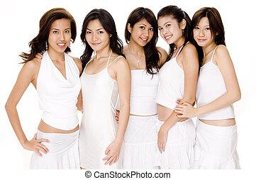 asiatiska kvinnor, in, vit, #1