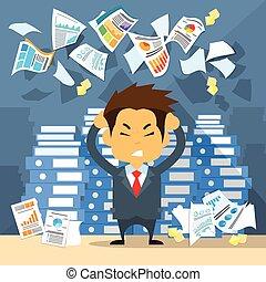 asidero entrega, papeles, empresa / negocio, cabeza, hombre de negocios, dolor de cabeza, hombre, enfatizado, templos, tiro, concepto