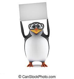 asideros, arriba, académico, blanco, pingüino, bandera, 3d