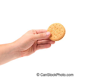asideros, galleta, galletas, mano, relleno