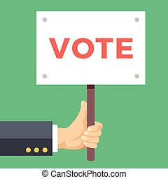 asideros, mano, voto, vector, board., señal