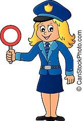 asideros, parar la muestra, 1, tema, mujer policía