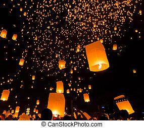asie, chiang mai, thaïlande, flotter, province, lanterne