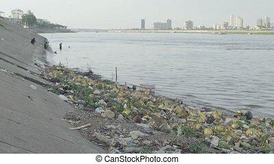 asie, déchets ménagers, river., plastique, phnom, mekong, ...