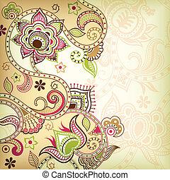 asie, floral, fond