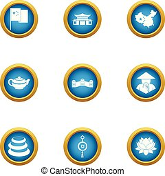 Asie icons set. Flat set of 9 asie vector icons for web isolated on white background