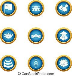 Asie icons set, flat style - Asie icons set. Flat set of 9...