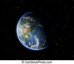 asie, la terre, space.