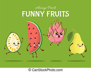 asie, vecteur, rigolote, durian, dish., caractère, fruit, plat, promenade, saut, poire, nourriture, exotique, pastèque, illustration., dragon, saut