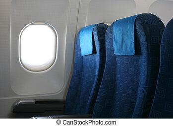 asiento del aeroplano, y, ventana
