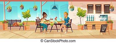 asientos de balcón, café, terraza, niñas, o