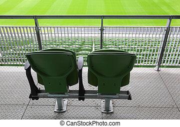 asientos, dos, plástico, grande, atrás, verde, estadio, tribune
