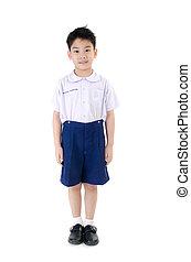 asijský dítě, sluha, do, student's, uniforma, dále, osamocený, grafické pozadí