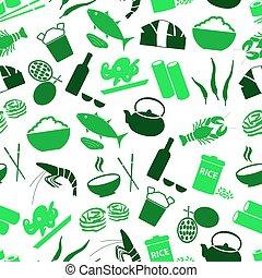asijský food, námět, dát, o, ikona, seamless, nezkušený, model, eps10