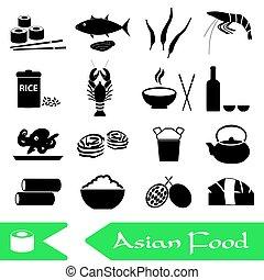 asijský food, námět, dát, o, jednoduchý ikona, eps10