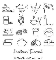 asijský food, námět, dát, o, jednoduchý, nárys, ikona, eps10