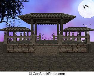 asijský, grafické pozadí, chrám