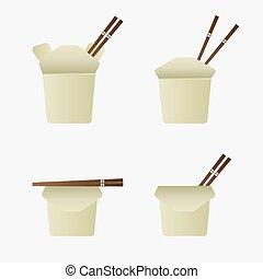 asijský, nebo, čína, strava, zabalit do papíru balit, jako,...