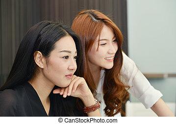 asijský povolání, ženy, usmívaní, do, potkat byt