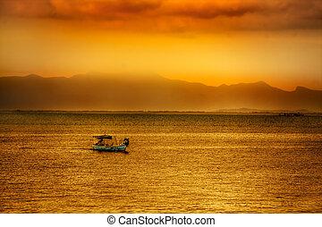 asijský, západ slunce, nad, namočit