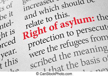 asile, définition, terme, droit, dictionnaire