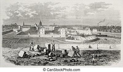 View of Psychiatric Hospital Saint Anne, Paris. Original, creatd by Gaildrau, was published on L'Illustration, Journal Universel, Paris, 1868