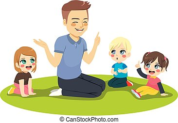 asilo, insegnante maschio, bambini