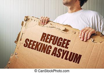 asilo, país, refugiado, estrangeiro, procurar