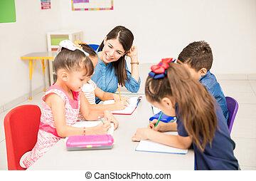 asilo, studenti, insegnante, lei