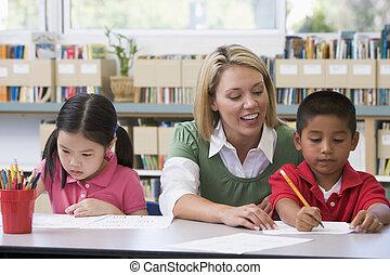 asilo, studenti, scrittura, porzione, abilità, insegnante