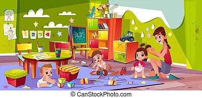 asilo, vettore, gioco, bambini, cartone animato