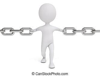 asimiento, carácter, humanoide, cadena, 3d