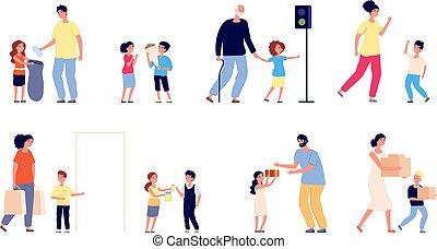 asimiento, mujer, niños, hábitos, amistoso, bueno, ...