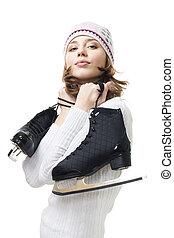 asimiento, mujer, positivo, patines, hielo