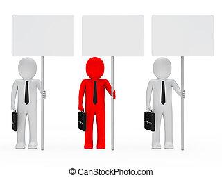 asimiento, signboard, hombres de negocios