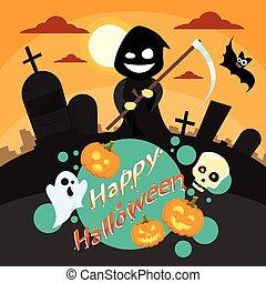 asimiento, sonrisa, bandera, cementerio, invitación, severo, halloween, tarjeta, fiesta, segadora, caricatura, cementerio, guadaña