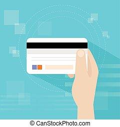 asimiento, tarjeta de crédito, vector, banco, plano, mano