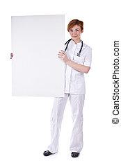 asimiento, whiteboard, médico joven